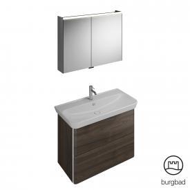 Burgbad Iveo washbasin with vanity unit and mirror cabinet front marone truffle decor / corpus marone truffle decor