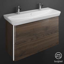 Burgbad Iveo ceramic washbasin with vanity unit with LED lighting with 2 pull-out compartments front marone truffle decor / corpus marone truffle decor