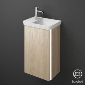 Burgbad Iveo mineral cast washbasin with vanity unit with LED lighting with 1 door front cashmere oak decor / corpus cashmere oak decor