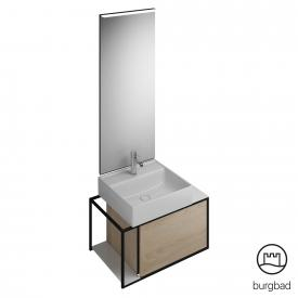 Burgbad Junit bathroom furniture set ceramic washbasin incl. vanity unit and mirror front cashmere oak decor / corpus cashmere oak decor