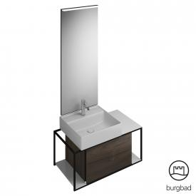 Burgbad Junit bathroom furniture set ceramic washbasin incl. vanity unit and mirror front marone truffle decor / corpus marone truffle decor