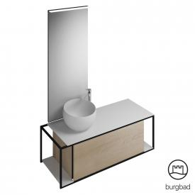 Burgbad Junit bathroom furniture set mineral cast washbasin incl. vanity unit and mirror front cashmere oak decor / corpus cashmere oak decor