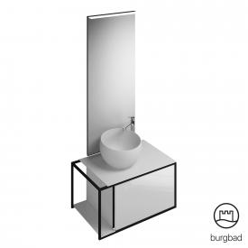 Burgbad Junit bathroom furniture set mineral cast washbasin incl. vanity unit and mirror front white high gloss / corpus white high gloss