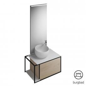 Burgbad Junit bathroom furniture set with mineral cast washbasin incl. vanity unit and mirror front cashmere oak decor/corpus cashmere oak decor