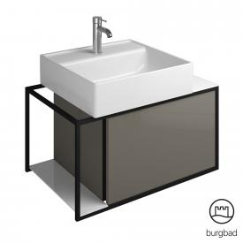 Burgbad Junit ceramic washbasin incl. vanity unit with 1 pull-out compartment front grey high gloss / corpus grey high gloss