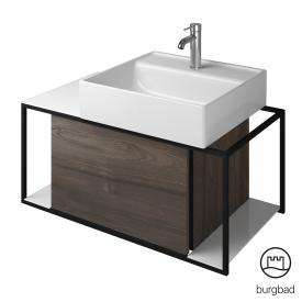 Burgbad Junit ceramic washbasin incl. vanity unit with 1 pull-out compartment front marone truffle decor / corpus marone truffle decor