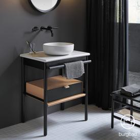 Burgbad Mya ceramic washbasin with vanity unit W: 65 cm, 1 drawer front black oak/corpus black oak/basin white velvet