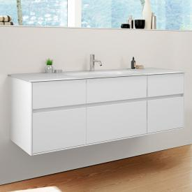 Burgbad RC40 Solitaire glass washbasin with vanity unit with 5 pull-out compartments front matt white / corpus matt white, Washbasin matt white