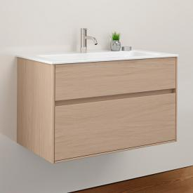 Burgbad RC40 Solitaire ceramic washbasin with vanity unit with 1 pull-out compartment front authentic oak / corpus authentic oak