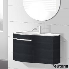 Burgbad Sinea hand washbasin with vanity unit with 2 doors front hacienda black / corpus hacienda black / washbasin white