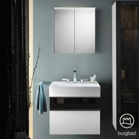 Burgbad Yumo bathroom furniture set with washbasin with vanity unit and mirror cabinet front white high gloss/bronze/corpus white high gloss/WB white