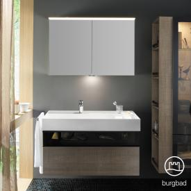 Burgbad Yumo bathroom furniture set with washbasin incl. shelf with vanity unit and mirror cabinet front grey brown oak waves/bronze/corpus grey brown oak waves/WB white velvet