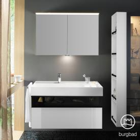 Burgbad Yumo bathroom furniture set with washbasin incl. shelf with vanity unit and mirror cabinet front white high gloss/bronze/corpus white high gloss/WB white