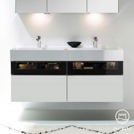 Burgbad Yumo double washbasin with vanity unit with LED lighting and 4 pull-out compartments front matt white/ bronze / corpus matt white / WB white