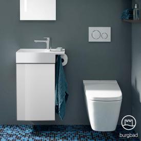 Burgbad Yumo Lave-mains avec meuble sous-lavabo, 1 porte Façade blanc ultra brillant/corps du meuble blanc ultra brillant/lavabo blanc
