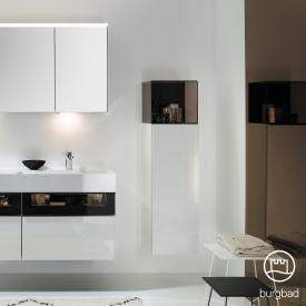 Burgbad Yumo medium unit with 1 door and glass compartment white high gloss