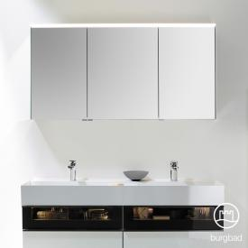 Burgbad Yumo mirror cabinet with LED lighting and 3 doors without washbasin lighting