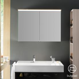Burgbad Yumo mirror cabinet with LED lighting and 2 doors without washbasin lighting