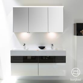 Burgbad Yumo Set double washbasin with vanity unit and mirror cabinet front white high gloss/bronze / corpus white high gloss / WB white velvet