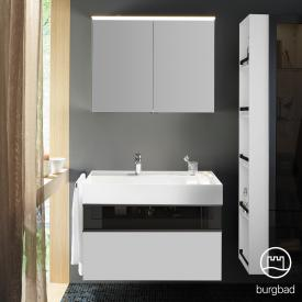 Burgbad Yumo Set washbasin incl. shelf with vanity unit and mirror cabinet front matt white/bronze / corpus matt white / WB white