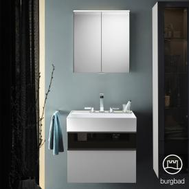 Burgbad Yumo Set washbasin with vanity unit and mirror cabinet front matt white/bronze / corpus matt white / WB white