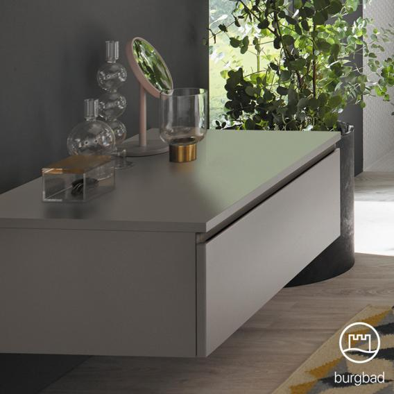 Burgbad Cube sideboard with 1 pull-out compartment front matt white / corpus matt white