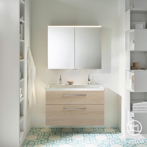 Burgbad Eqio bathroom furniture set 2, washbasin with vanity unit and mirror cabinet front cashmere oak decor / corpus cashmere oak decor, bar handle chrome