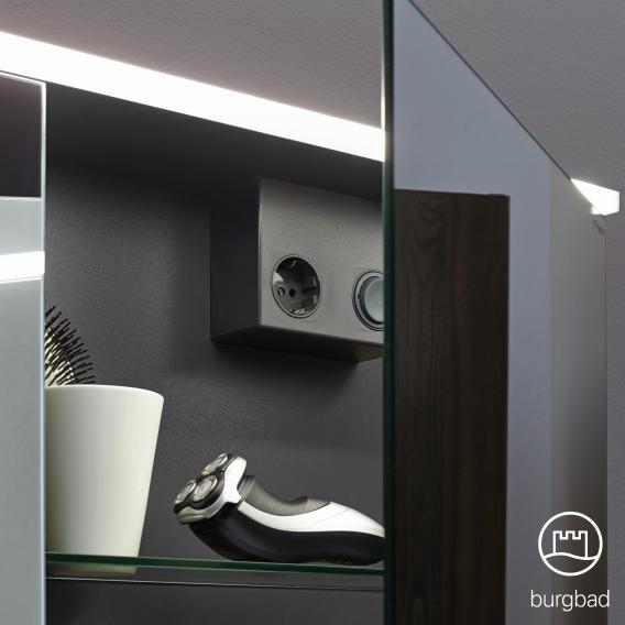 Burgbadbad Eqio mirror cabinet with LED lighting white gloss, without washbasin lighting