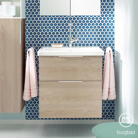 Burgbad Eqio washbasin with vanity unit with 2 pull-out compartments front cashmere oak decor / corpus cashmere oak decor, handles chrome