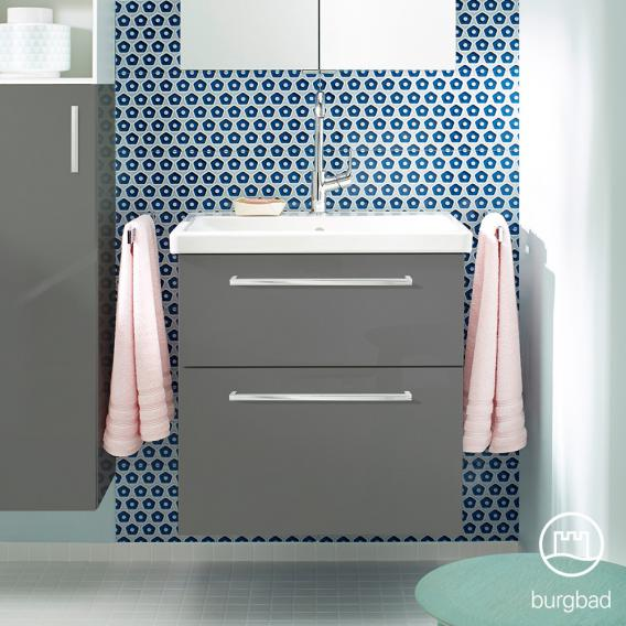 Burgbad Eqio washbasin with vanity unit with 2 pull-out compartments front grey high gloss / corpus grey gloss, bar handles chrome