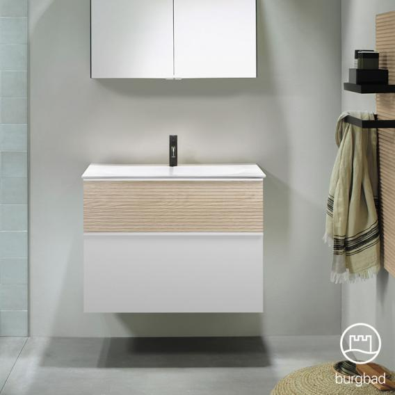 Burgbad Fiumo washbasin with vanity unit with 2 pull-out compartments front matt white/cashmere oak decor / corpus matt white, handle strip matt white