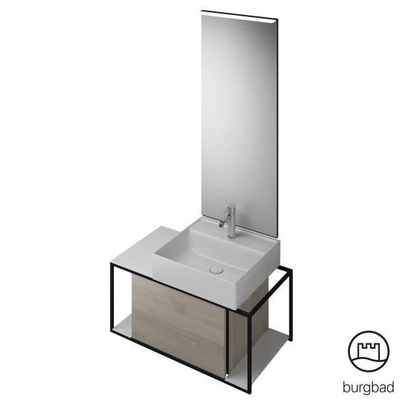 Burgbad Junit bathroom furniture set ceramic washbasin incl. vanity unit and mirror front flanell oak decor / corpus flanell oak decor