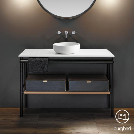 Burgbad Mya ceramic washbasin with vanity unit W: 120 cm, 2 drawers front black oak/corpus black oak/basin white velvet