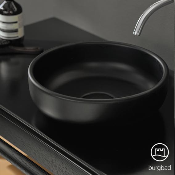 Burgbad Mya ceramic washbasin with vanity unit W: 65 cm, 1 drawer front natural oak/corpus natural oak/basin matt black