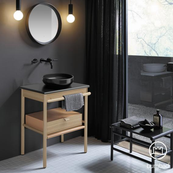 Burgbad Mya countertop washbasin with vanity unit W: 65 cm, 1 drawer front natural oak/corpus natural oak/basin matt black