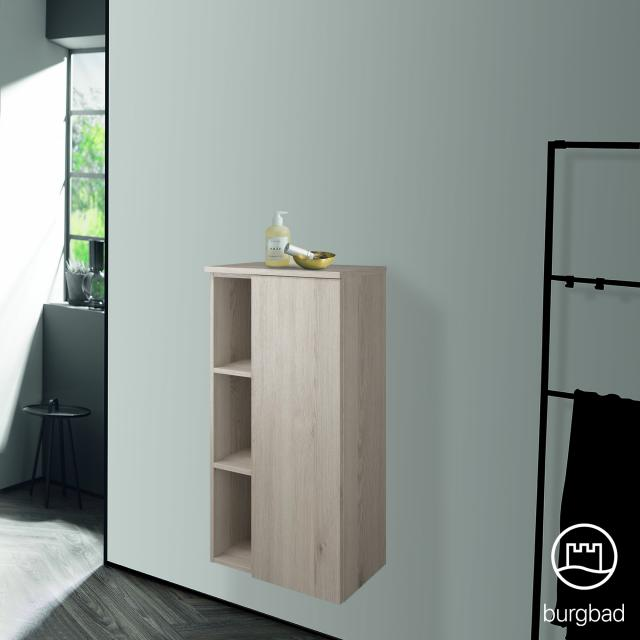 Burgbad Badu medium unit with 1 door and 1 rack front flannel oak decor / corpus flannel oak decor, anthracite handle strip