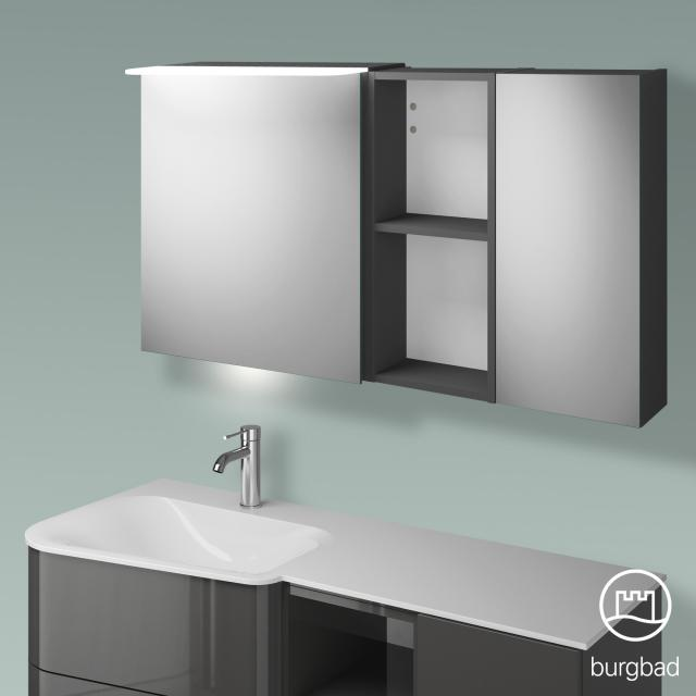 Burgbad Badu mirror cabinet with LED lighting with 2 doors and rack corpus anthracite high gloss, anthracite handle strip, with washbasin lighting