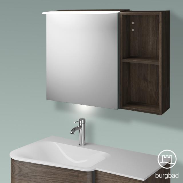Burgbad Badu mirror cabinet with LED lighting with 1 door and rack corpus marone truffle decor, anthracite handle strip, with washbasin lighting