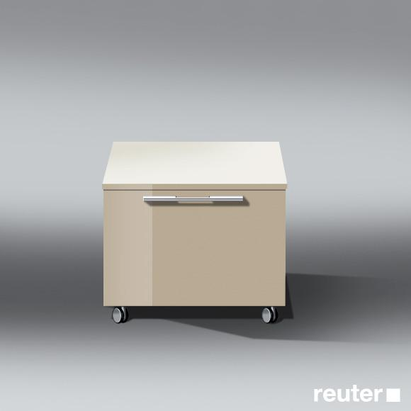 Burgbad Bel storage unit on castors with 1 pull-out compartment front sand high gloss/corpus sand high gloss