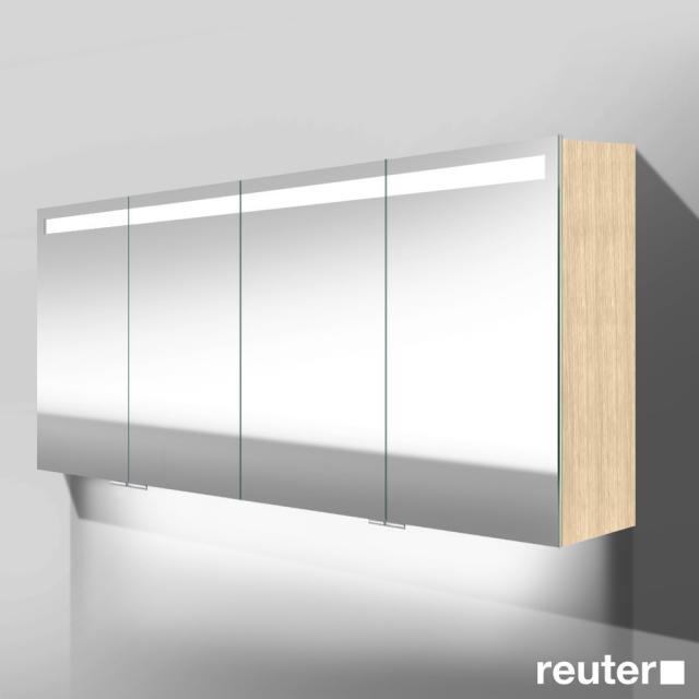 Burgbad Crono mirror cabinet with LED lighting with 4 doors light oak fineline, with washbasin lighting