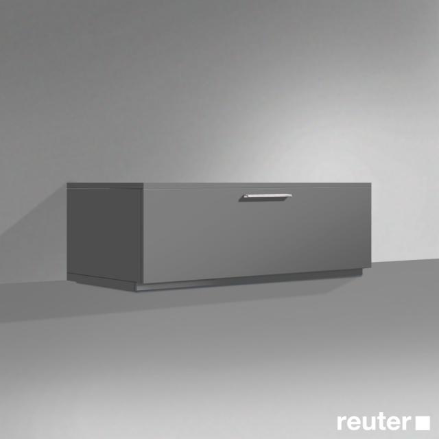 Burgbad Crono standing sideboard, 1 pull-out compartment, 1 drawer front matt dark grey/corpus matt dark grey