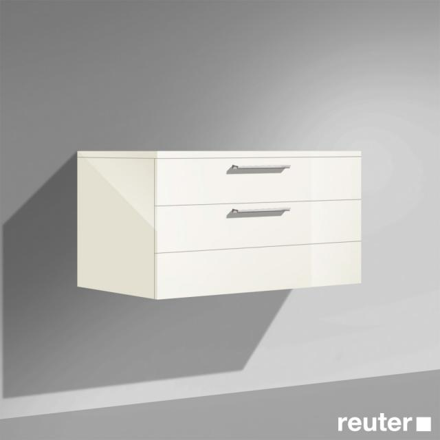 Burgbad Crono low cabinet, with 2 pull-out compartments front white high gloss/corpus white high gloss