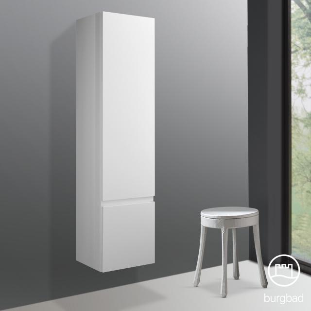 Burgbad Cube tall unit with 1 door and 1 laundry basket front matt white / corpus matt white