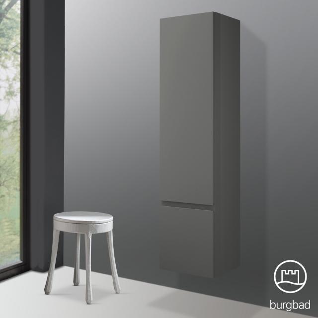 Burgbad Cube tall unit with 2 doors front matt dark grey / corpus matt dark grey