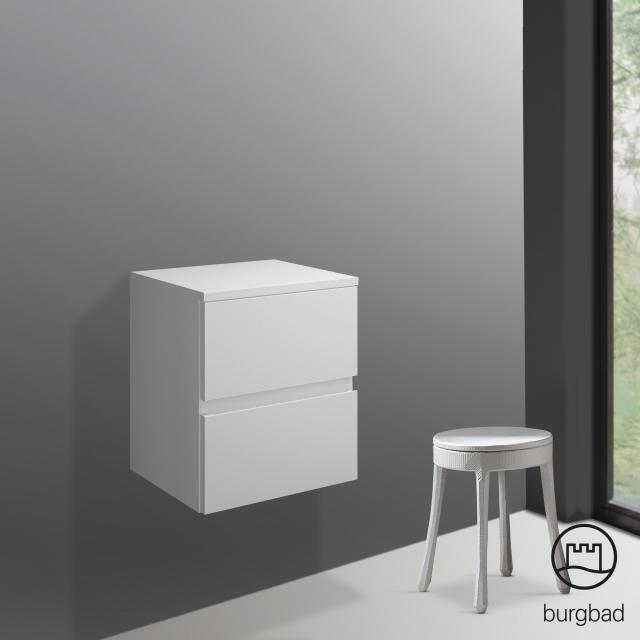 Burgbad Cube undercounter unit with 2 pull-out compartments front matt white / corpus matt white