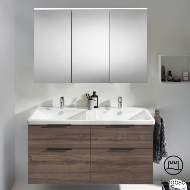 Burgbad Eqio bathroom furniture set 5 double washbasin with vanity unit and mirror cabinet front marone truffle decor / corpus marone truffle decor, handles matt black