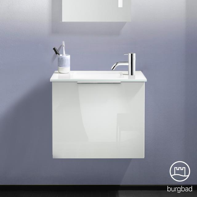 Burgbad Eqio hand washbasin with vanity unit with 1 flap door front white high gloss / corpus white gloss, handle chrome