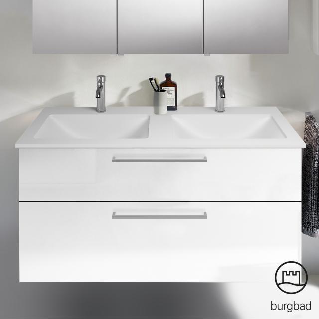 Burgbad Eqio mineral cast, double washbasin for vanity unit SEYV122