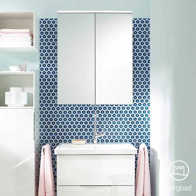 Burgbad Eqio mirror cabinet with LED lighting with 2 doors white gloss, without washbasin lighting