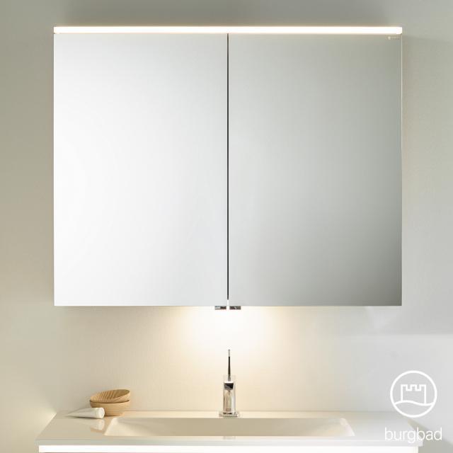 Burgbad Eqio mirror cabinet with LED lighting with 2 doors white gloss, with washbasin lighting